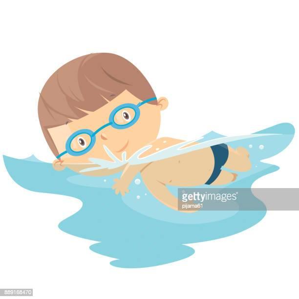 kind schwimmen - schwimmen stock-grafiken, -clipart, -cartoons und -symbole