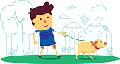 Kid walking the dog pet, wellbeing life