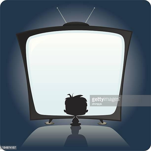 illustrations, cliparts, dessins animés et icônes de enfant regarder la télévision - devant