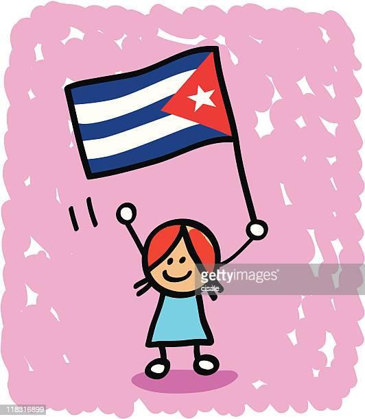 kid with cuba  flag cartoon - cuban ethnicity stock illustrations, clip art, cartoons, & icons