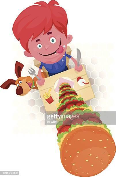 kid with huge hamburger - hamburger stock illustrations, clip art, cartoons, & icons