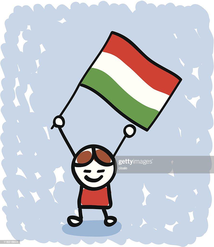 Kid with Hungary flag cartoon : stock illustration