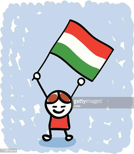 Kid with Hungary flag cartoon