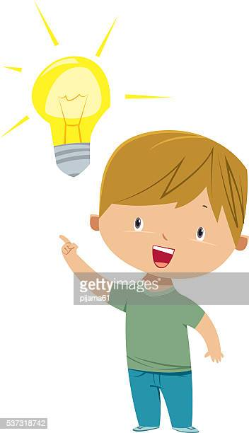 kid with idea. - ideas stock illustrations