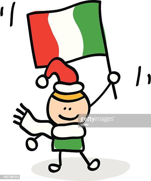 kid with Italy flag cartoon illustration
