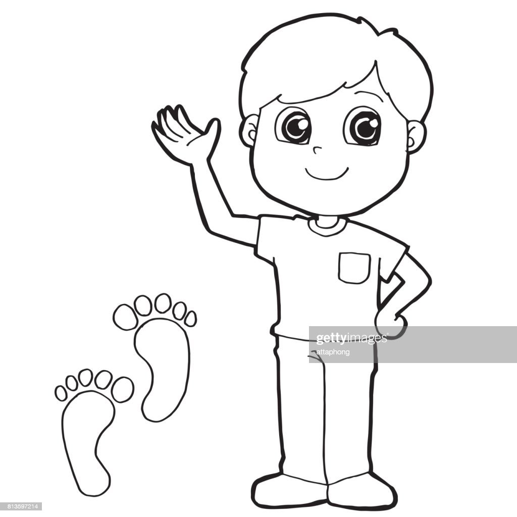 Kid With Paw Print Coloring Page Vector Vector Art | Getty Images