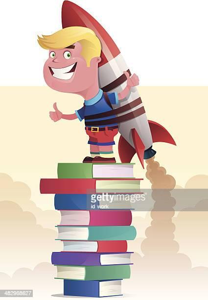 ilustraciones, imágenes clip art, dibujos animados e iconos de stock de niño con roqueta lanzamiento - libros volando