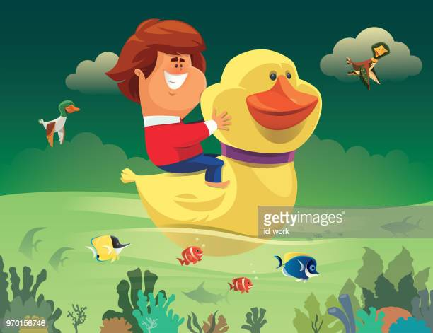 kid with rubber duck sailing the sea - acanthuridae stock illustrations, clip art, cartoons, & icons