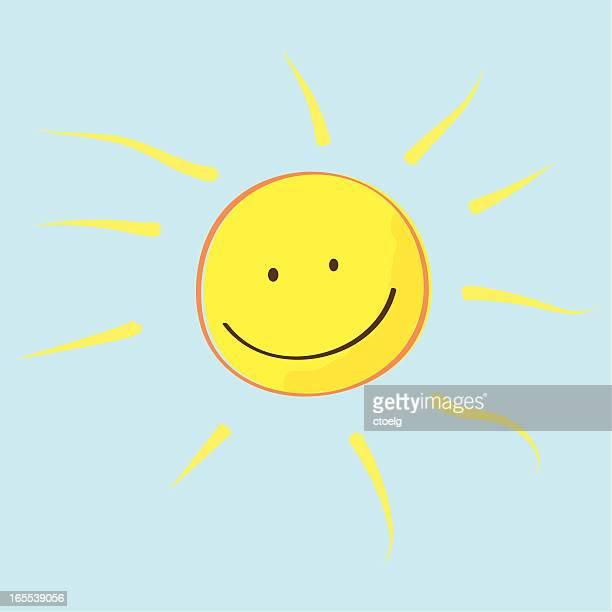 ilustraciones, imágenes clip art, dibujos animados e iconos de stock de kiddy sol - sol en la cara