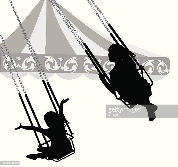 Kiddy Swings Vector Silhouette