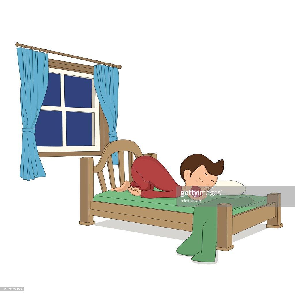 kid's activity. A boy sleep in the bed.
