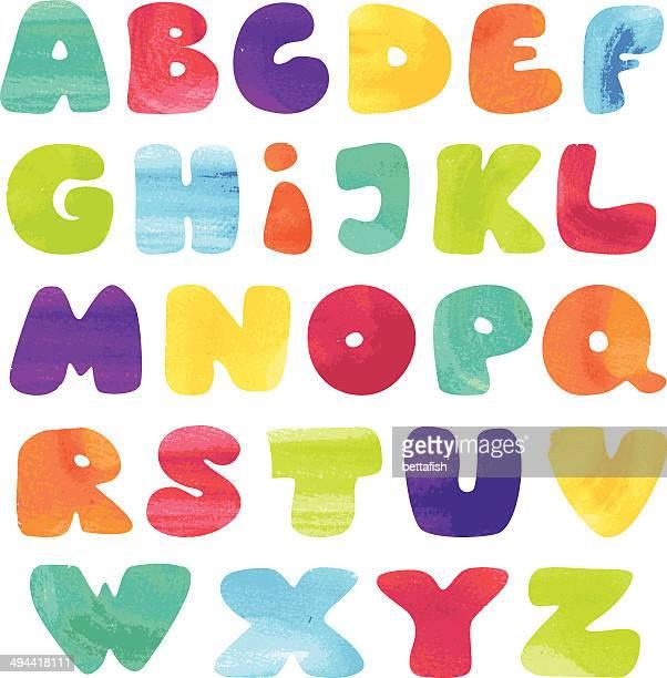 ilustraciones, imágenes clip art, dibujos animados e iconos de stock de niños alfabeto, con estilo de acuarela - niñez