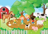 Kids and farm animals in the farm
