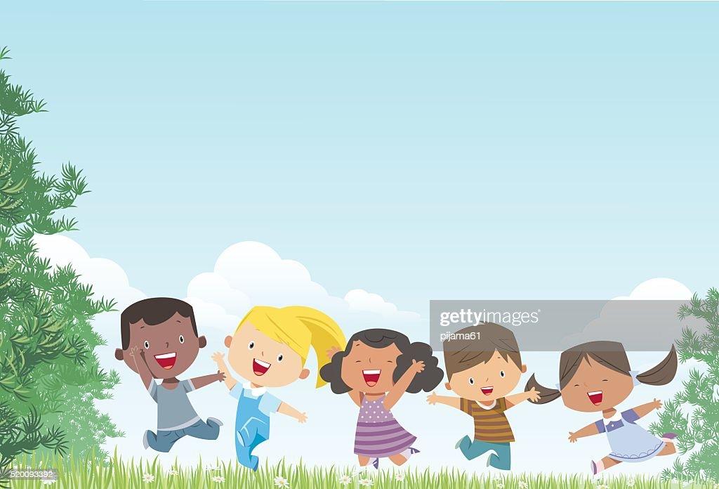 Kids and Landscape : stock illustration