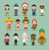 Kids and nationalities of the world vector Set 4: America.
