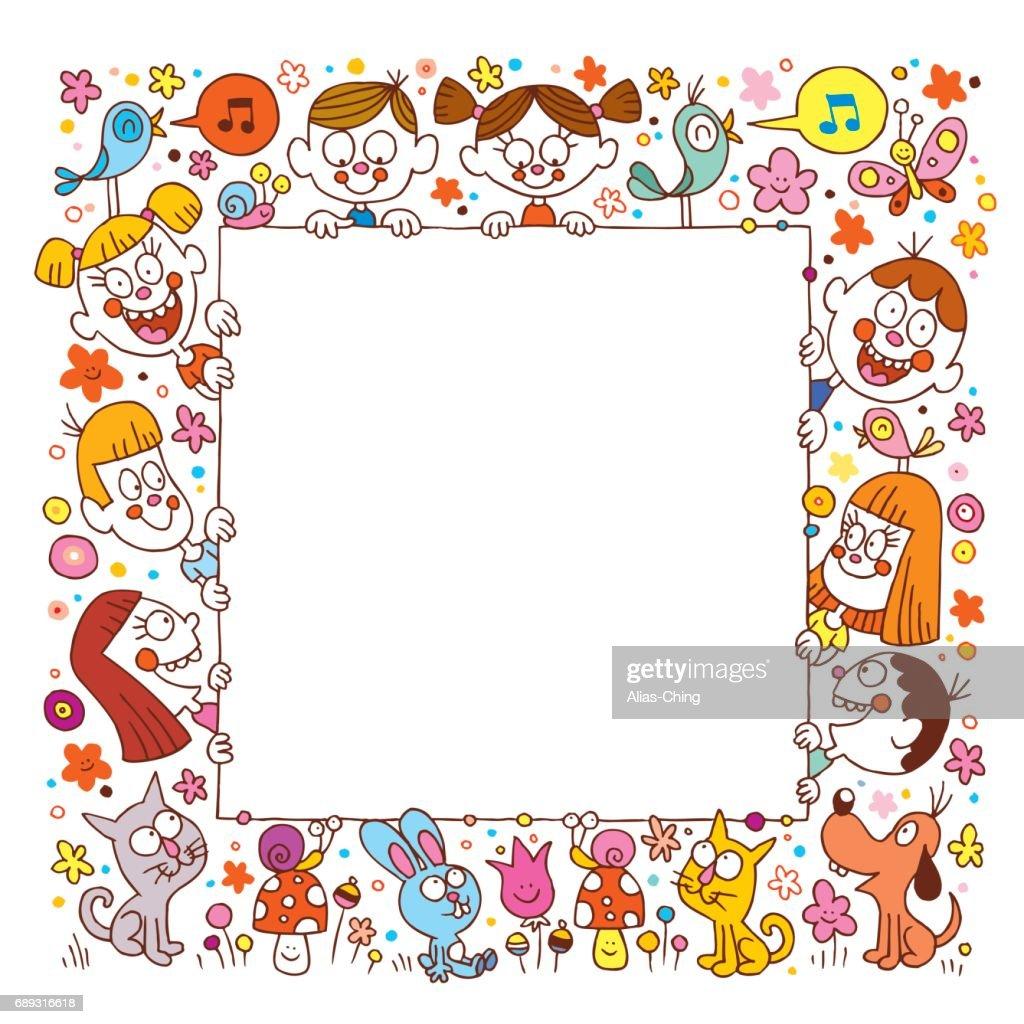kids and pets blank banner frame border