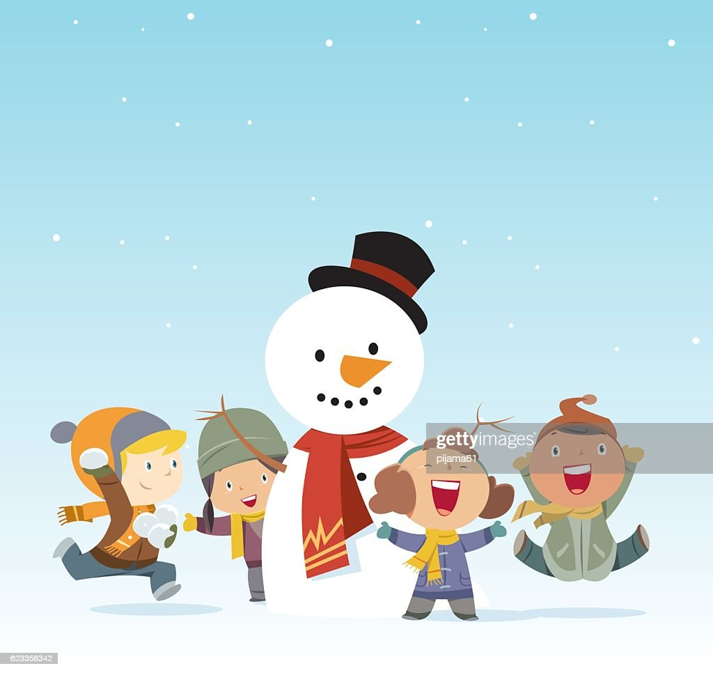 Kids And Snowman Vector Art | Getty Images