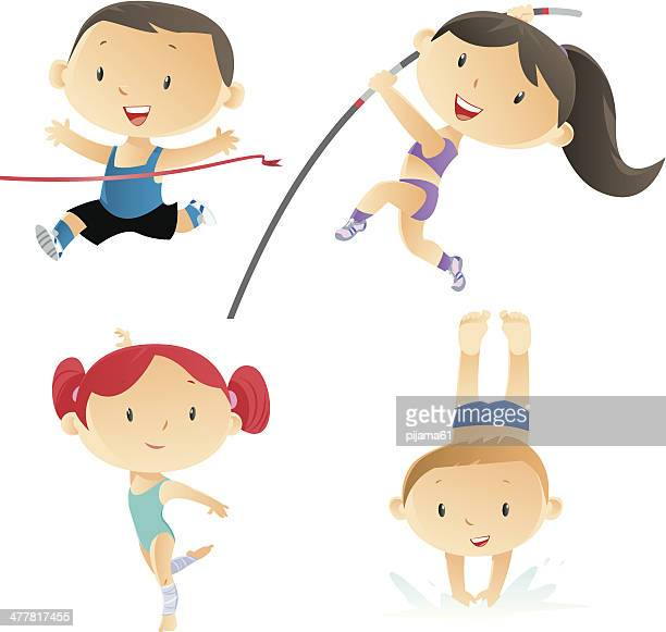 kids and sport - gymnastics stock illustrations