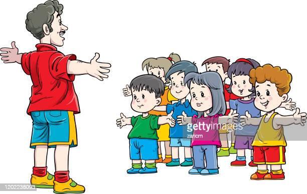 ilustraciones, imágenes clip art, dibujos animados e iconos de stock de niños y profesores de origen físico y blanco - educacion fisica