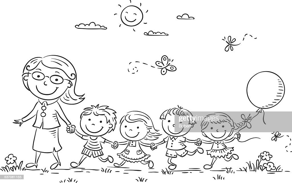 Kids and their Teacher Outdoors, Outline