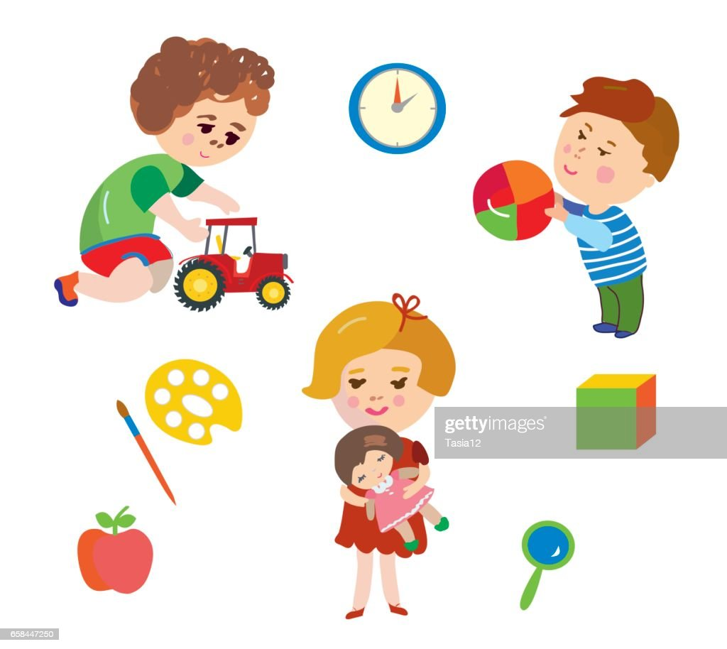 Kids and toys cartoons set - vector  illustration
