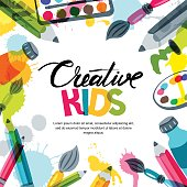 Kids art, education, creativity class concept. Vector banner, poster background with calligraphy, pencil, brush, paints.