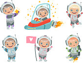 Kids astronauts. Children funny characters in space suit spaceman vector mascots
