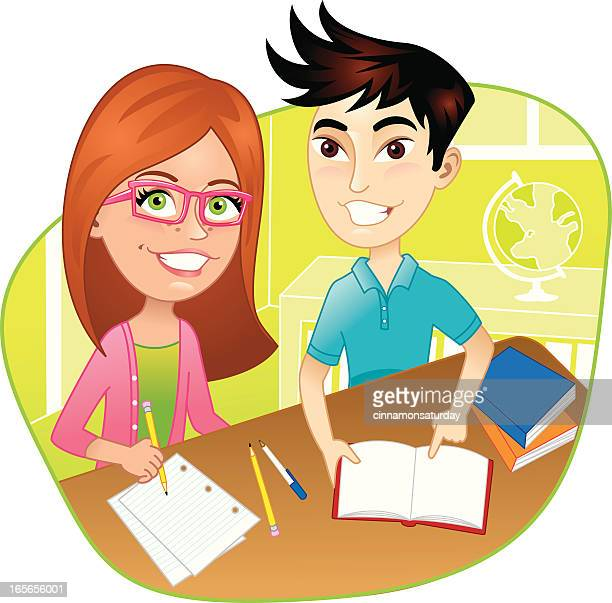 kids at desk in classroom doing school work - school child stock illustrations, clip art, cartoons, & icons