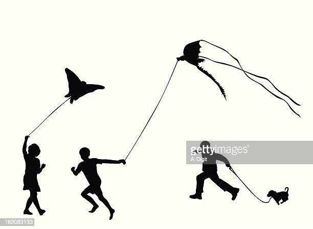 kids at the park vector silhouette - tracing stock illustrations