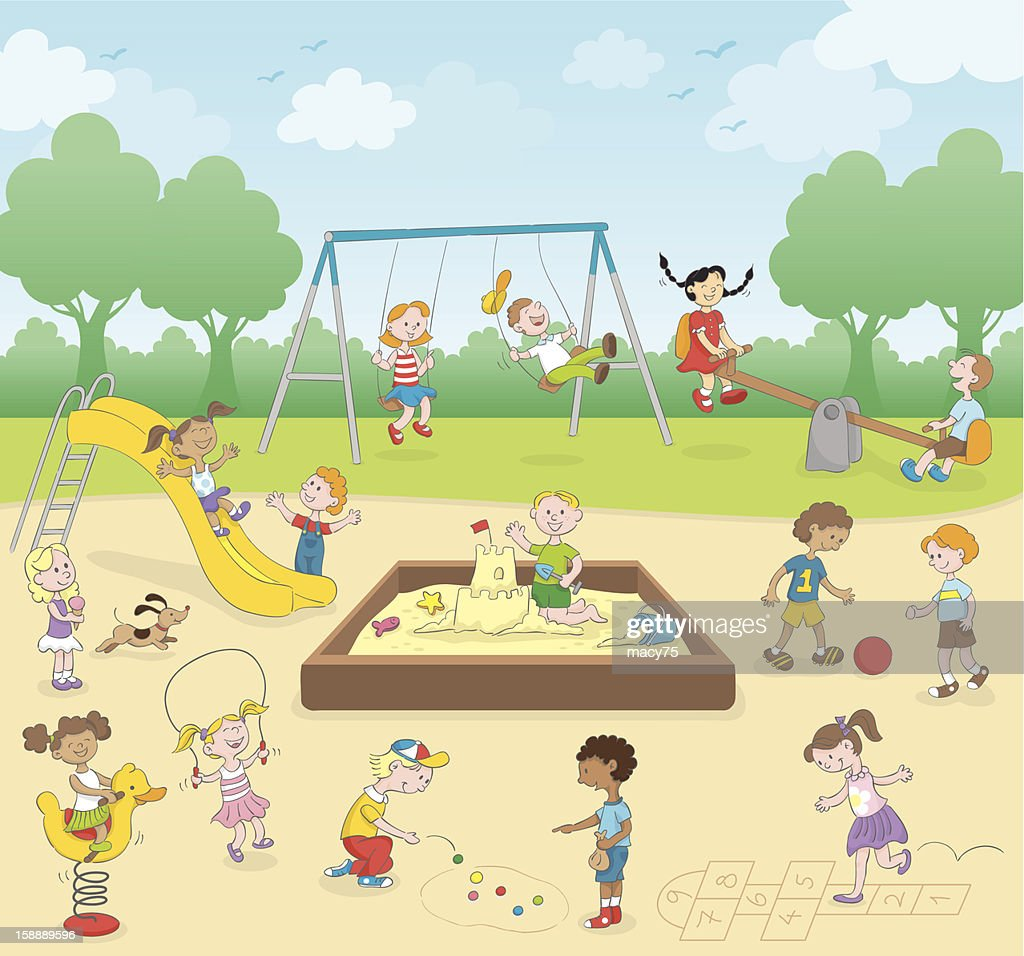 Kids at the playground : Vector Art