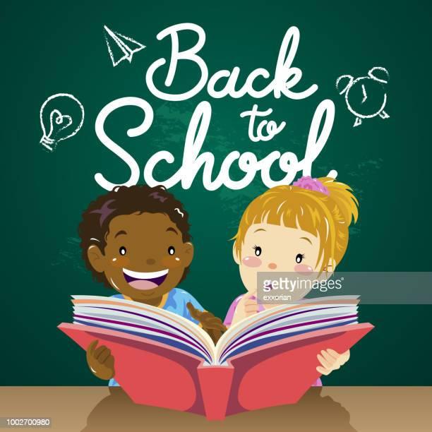 illustrations, cliparts, dessins animés et icônes de enfants retour à la lecture de l'école - première rentrée scolaire
