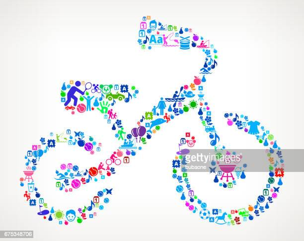 Kid's Bicycle  Vacation and Summer Fun Icons Background