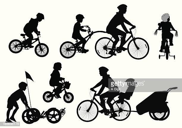 kids biking vector silhouette - three wheeled pushchair stock illustrations, clip art, cartoons, & icons