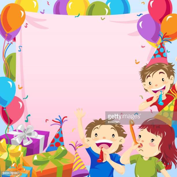 illustrations, cliparts, dessins animés et icônes de kids birthday party invitation - anniversaire enfant
