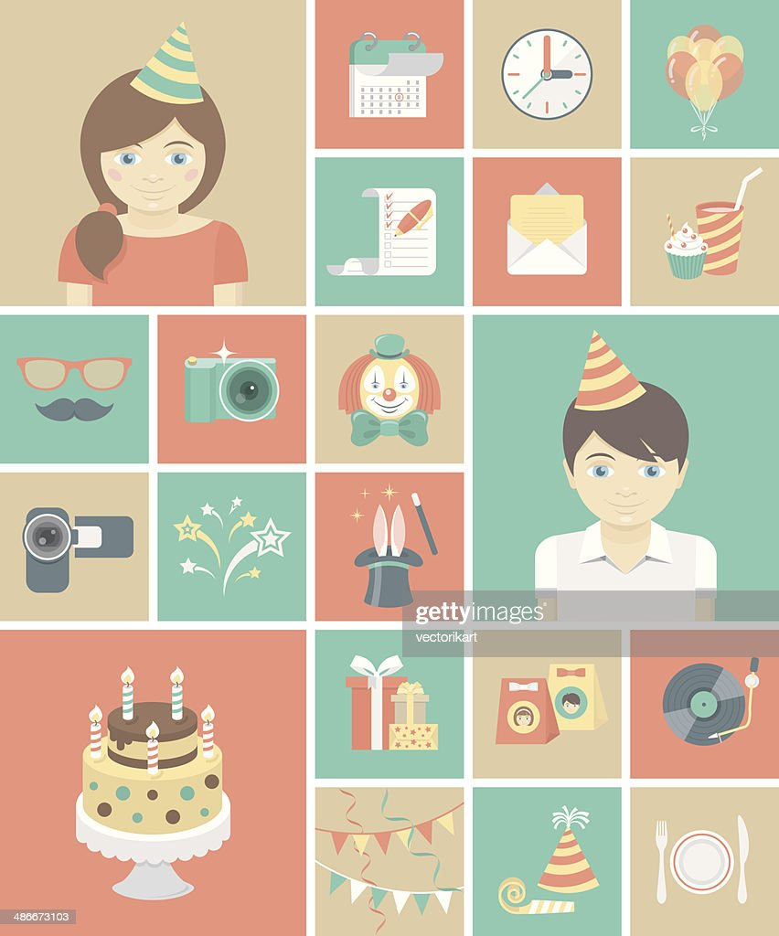Kids Birthday Party Square Icons