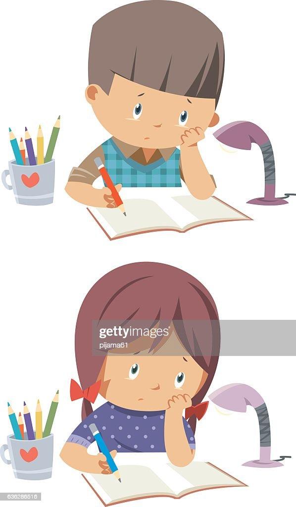 kids bored homework : stock illustration