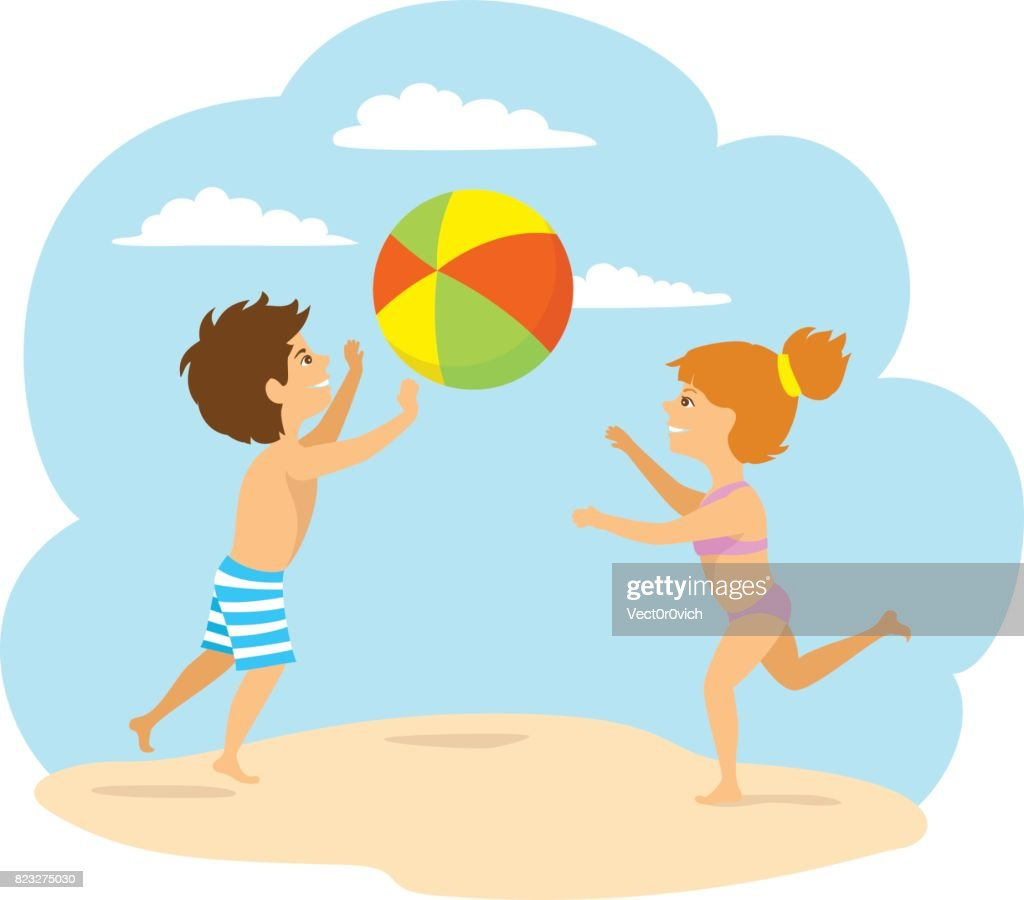 kids, boy and girl playing ball on the beach