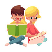 Kids, boy in glasses, blond girl with ponytails, reading books
