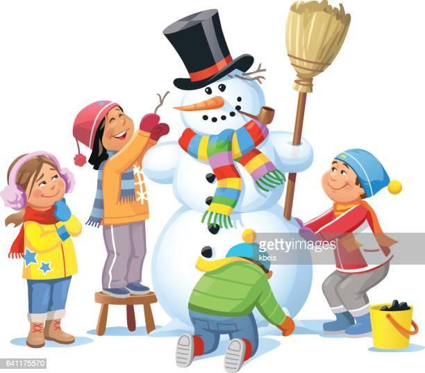 kids building a snowman - broom stock illustrations, clip art, cartoons, & icons
