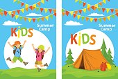 kids camp poster templates with children jumping for joy and campsite with tent, forest and backpacks