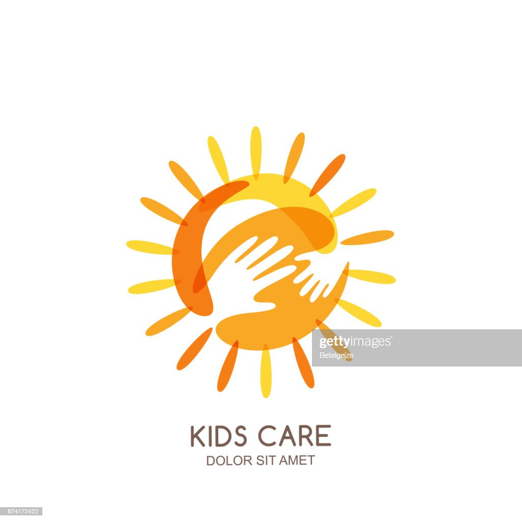 Kids care, family or charity vector emblem design template. Hand drawn sun with baby and adult hands silhouettes.
