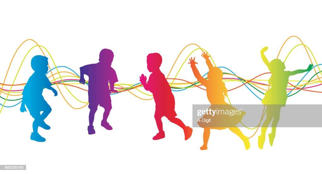 Kinder sorglos spielen : Stock-Illustration