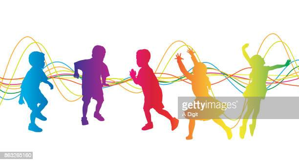 kids carefree playtime - dancing stock illustrations