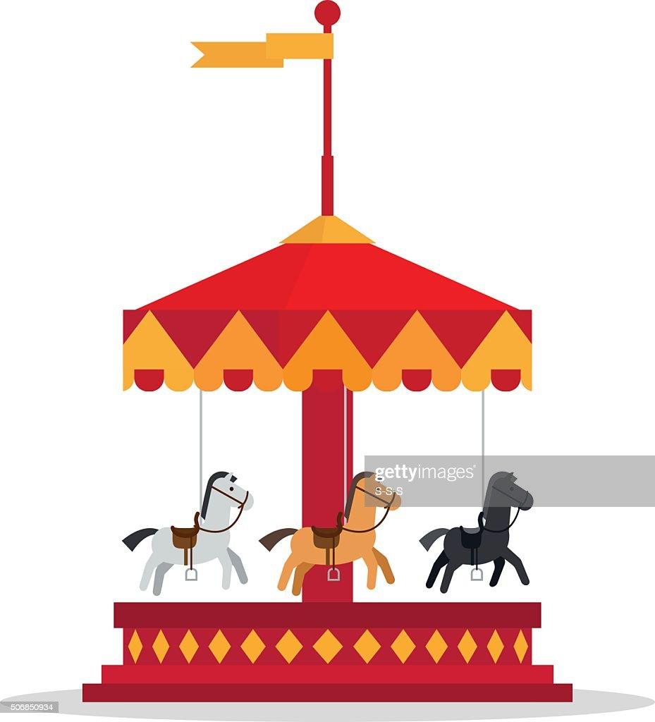 Kids carnival carousel in flat style