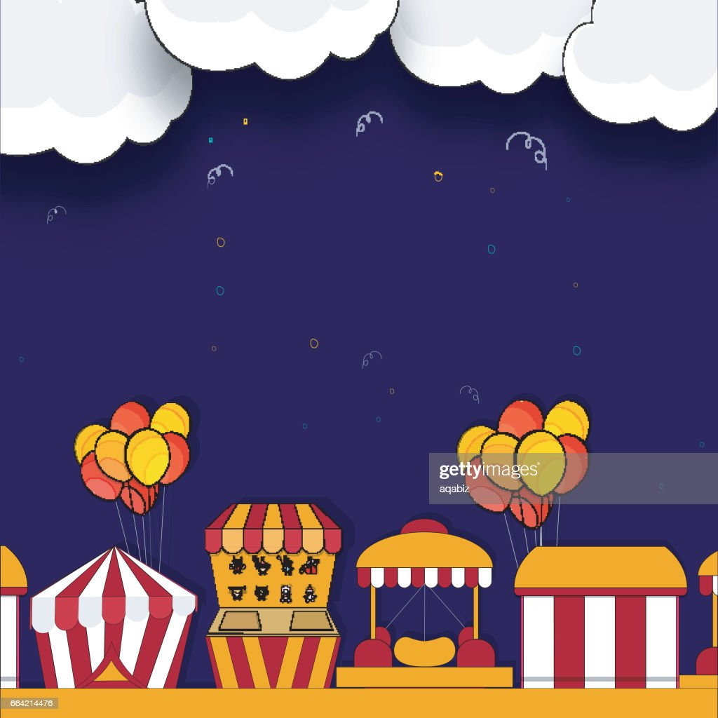 Kids Carnival or Funfair background with illustration of circus tents, stalls and balloons.