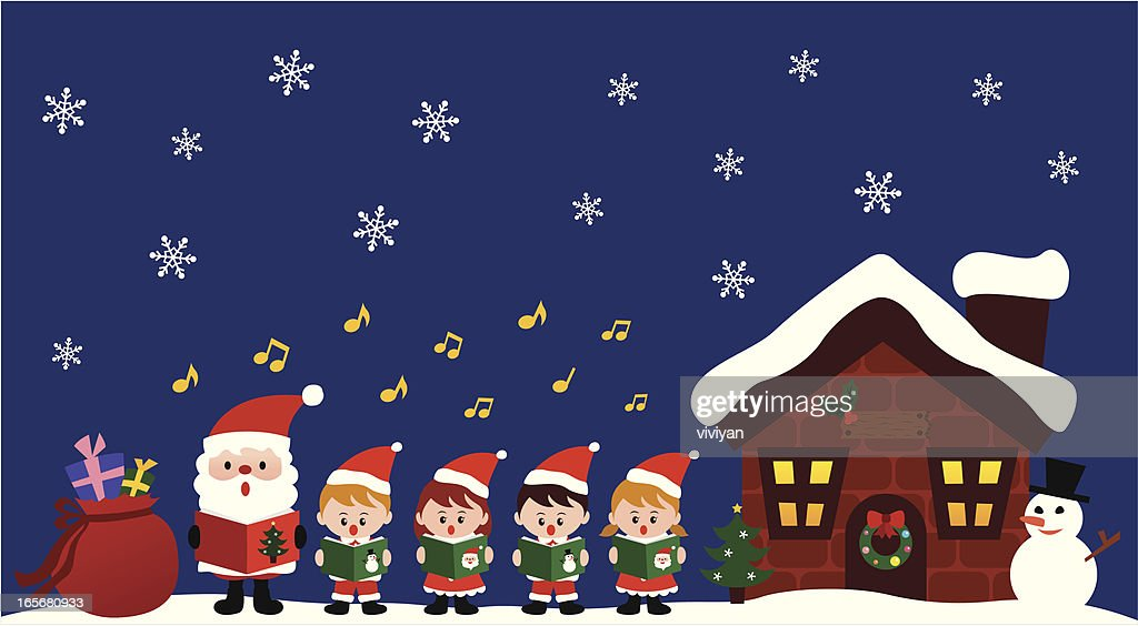 kids caroling with Santa in Christmas