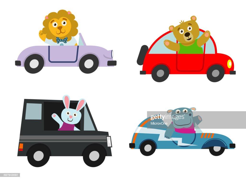 Kids cars transport with cute cartoon animals vector set