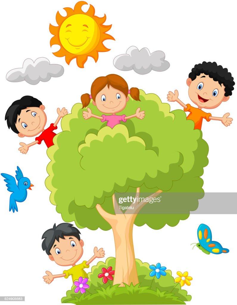 Kids cartoon playing on tree