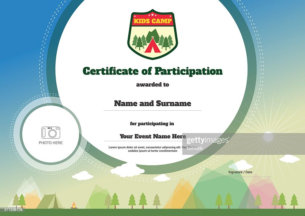 Kids Certificate Template In Vector For Camping Participation Vector