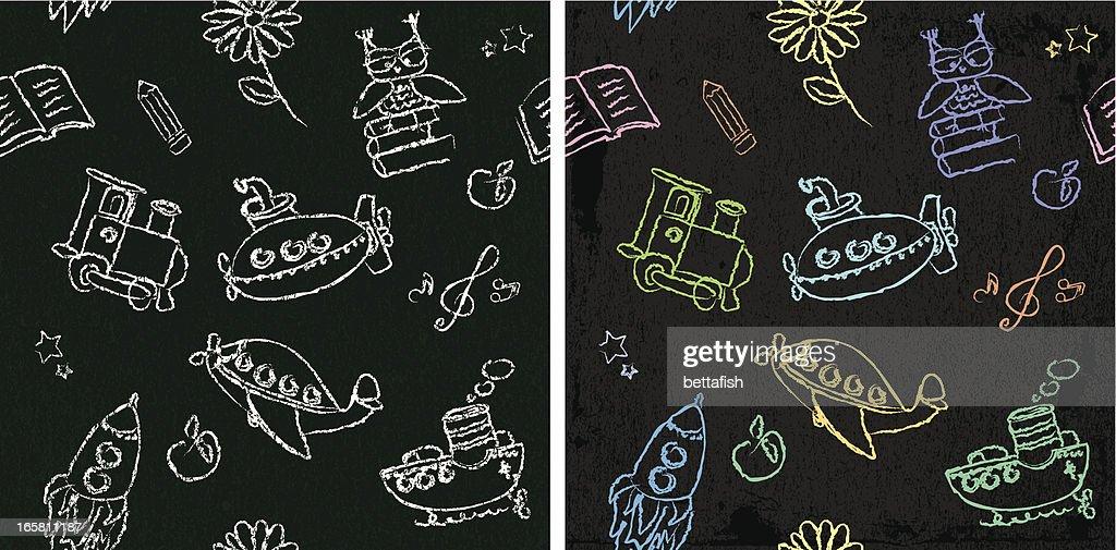 Kids chalk drawings - seamless